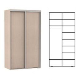 шкаф купе 2 двери. полки. 1 штанга. высота 2,4м. глубина 600мм