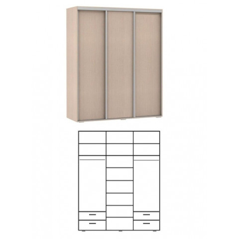 шкаф купе 3 двери. 2 штанги, 2+2 ящика. высота 2,4м. глубина 600мм