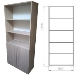 шкаф книжный полузакрытый 1950х800х400 ЛДСП