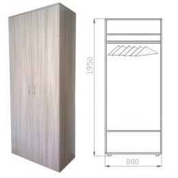 шкаф для одежды 1950х800х500 штанга труба